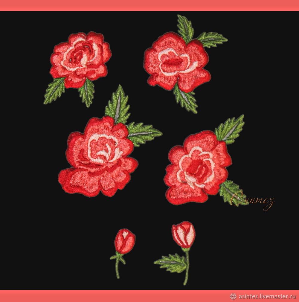 Вышивка аппликация розы Русский стиль нашивка заплатка, Аппликации, Москва,  Фото №1