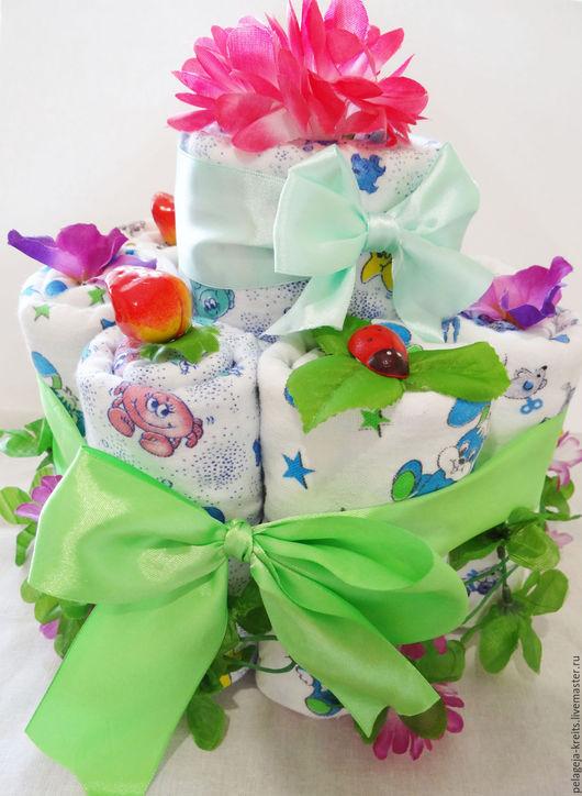 Подарки для новорожденных, ручной работы. Ярмарка Мастеров - ручная работа. Купить Торт из пелёнок к рождению малыша. Handmade. Торт из памперсов