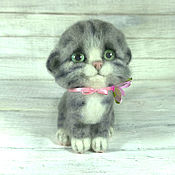 Куклы и игрушки handmade. Livemaster - original item Kitty felted wool. gray. Handmade.