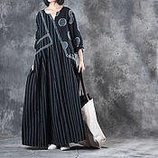 Одежда handmade. Livemaster - original item Linen dress Black apparel. Handmade.