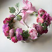Украшения ручной работы. Ярмарка Мастеров - ручная работа Цветочный венок в розово-сиреневой гамме. Handmade.
