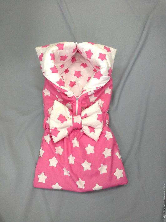 """Для новорожденных, ручной работы. Ярмарка Мастеров - ручная работа. Купить Конверт на выписку и для прогулок """"Звезды"""" розовый. Handmade. Комбинированный"""