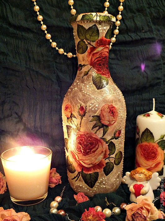 бутылка, бутылка декупаж, декор бутылок, оформление бутылок, нарядная бутылка, праздничная бутылка, бутылка с розами