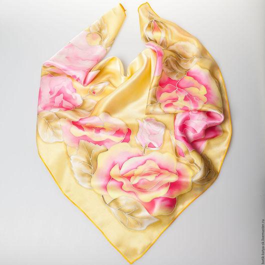 """Шали, палантины ручной работы. Ярмарка Мастеров - ручная работа. Купить Батик шелковый платок """"Нежные розы"""". Handmade. Оливковый"""
