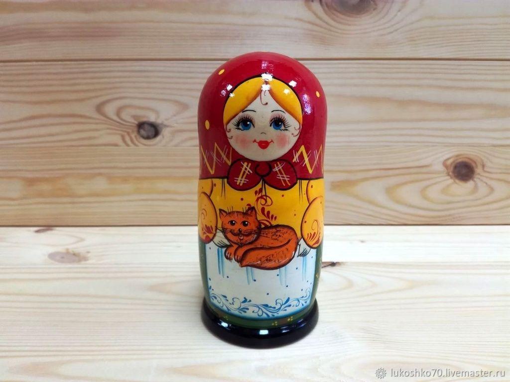 Matryoshka 'Red cat'. Matryoshka 5 dolls, Dolls1, Tomsk,  Фото №1