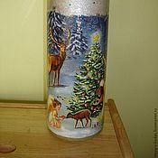 Для дома и интерьера ручной работы. Ярмарка Мастеров - ручная работа Ваза Рождество в лесу, декупаж. Handmade.