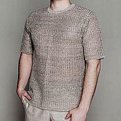 Одежда handmade. Livemaster - original item 100% linen.Men`s cardigan with short sleeves