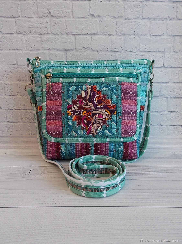 Patchwork Bag, Divo, With Pocket, Patchwork, Ethno, Turquoise, Mint, Crossbody bag, Novosibirsk,  Фото №1