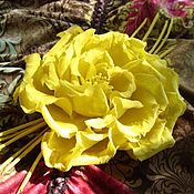 Украшения handmade. Livemaster - original item Flowers made of fabric. Brooch barrette YELLOW ROSE. Italian linen.. Handmade.