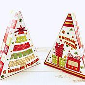 Подарки к праздникам handmade. Livemaster - original item Box of Christmas gift wrapping, Christmas tree small. Handmade.