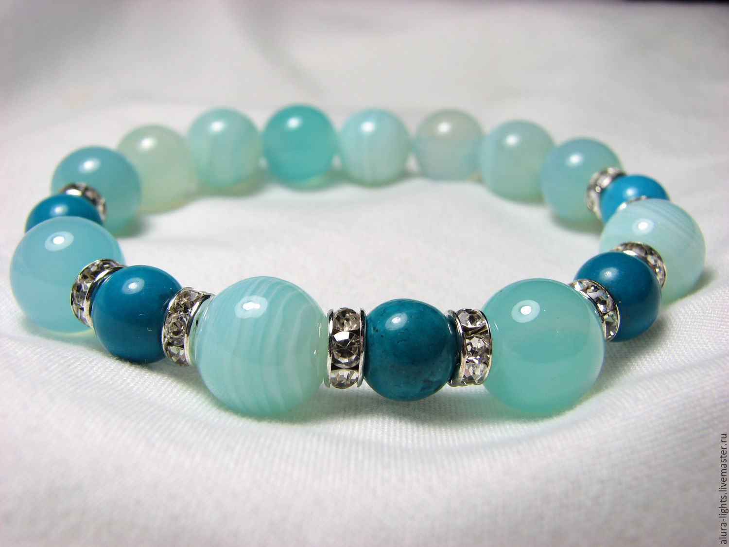 Bracelet with agate and Turkmenistan 'Blue lagoon', Bead bracelet, Moscow,  Фото №1