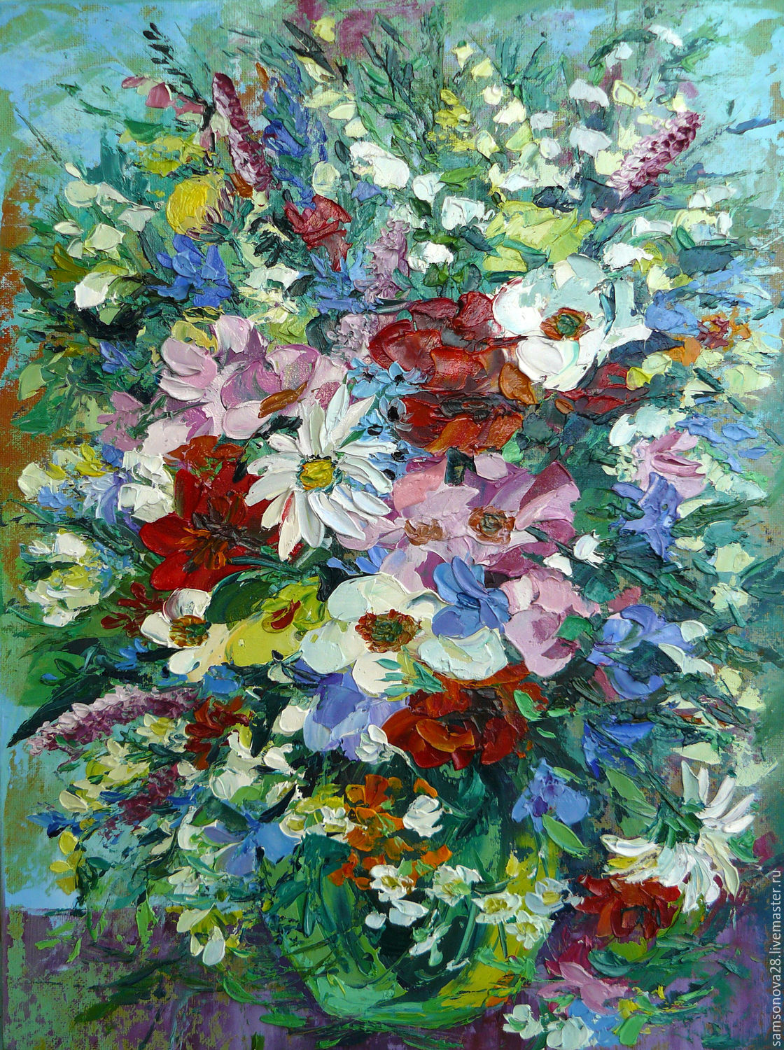 The colorfulbouquet of flowersoil paintingpalette knife shop flower paintings handmade livemaster handmade buy the colorfulbouquet of flowers izmirmasajfo
