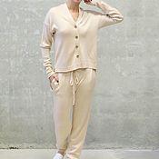 Одежда handmade. Livemaster - original item Women`s suit knitted Beige naturelle. Handmade.