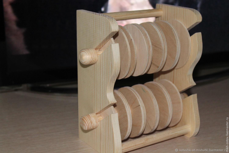 Подставка с катушками для лент и кружев на 10 катушек (дерево), Органайзеры для рукоделия, Пенза, Фото №1
