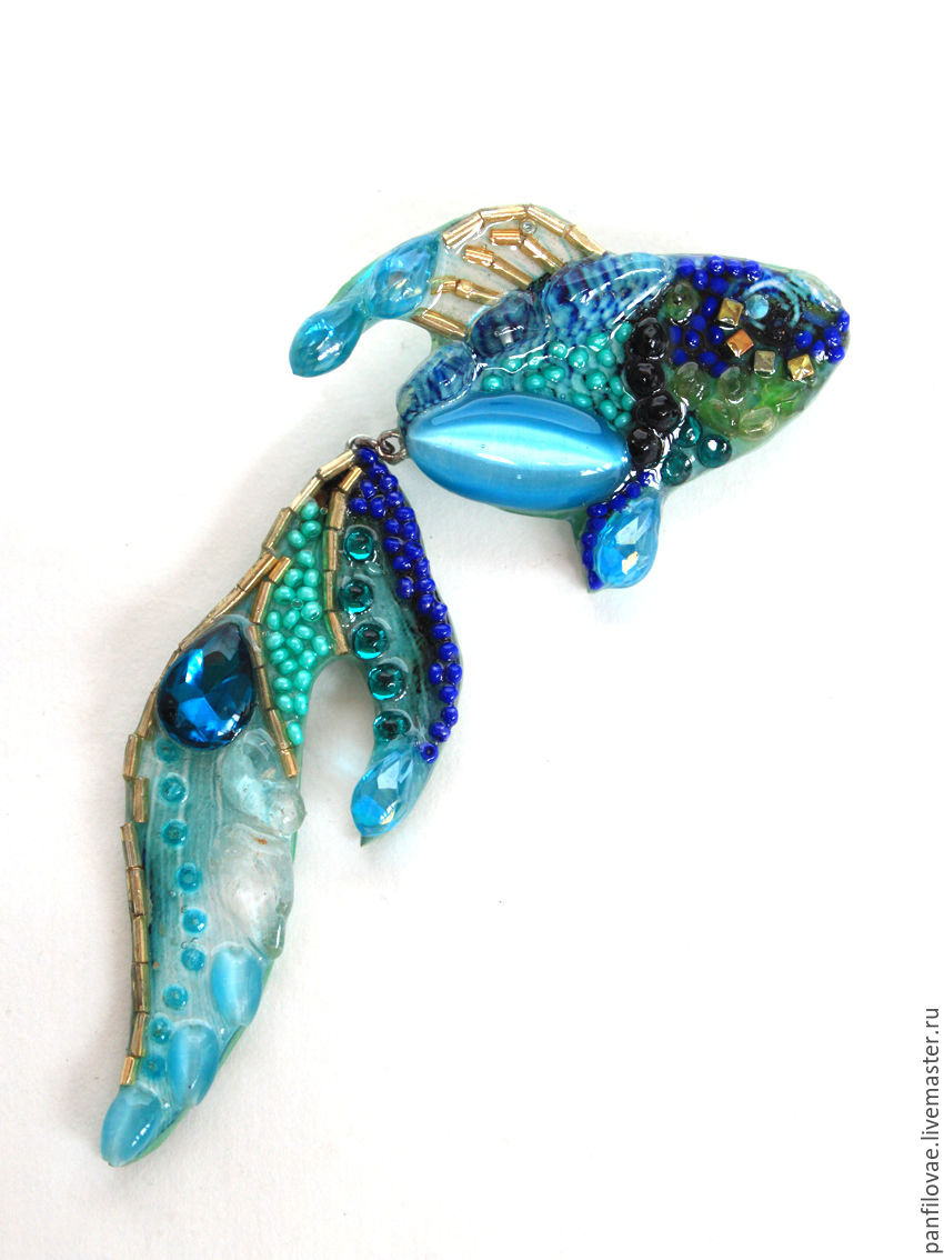 Броши ручной работы. Ярмарка Мастеров - ручная работа. Купить Рыбка. Handmade. Брошь, рыбка, рыбка золотая, бисер