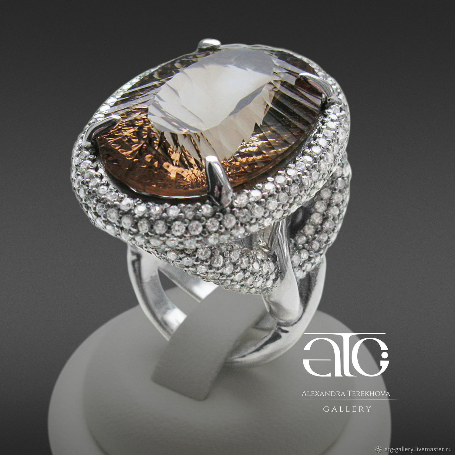 Ring with Topaz and CZ 925 sterling Silver Exclusive – shop online