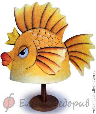 "Шапка для  бани ""Золотая рыбка"" ( авт. Елена Федорив)"