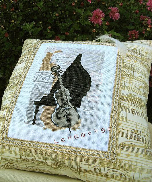 """Текстиль, ковры ручной работы. Ярмарка Мастеров - ручная работа. Купить Подушка """"Музыкальный дуэт"""". Handmade. Бежевый, рояль"""