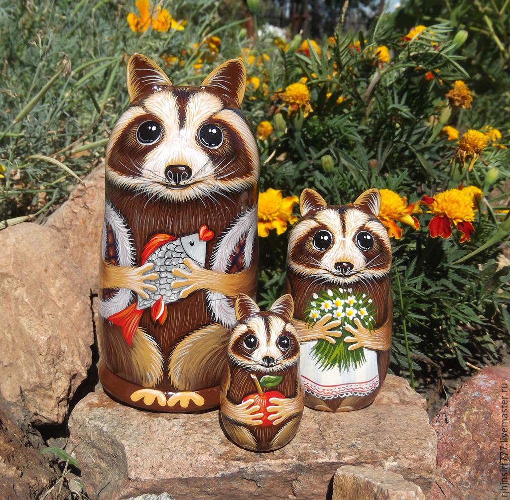 Matryoshka Family of Raccoons painting, Dolls1, Zmeinogorsk,  Фото №1