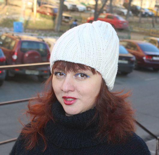 Шапки ручной работы. Ярмарка Мастеров - ручная работа. Купить спортивная шапочка шерсть. Handmade. Белый, шапка женская