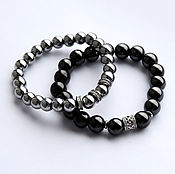 Украшения handmade. Livemaster - original item A set of bracelets from hematite