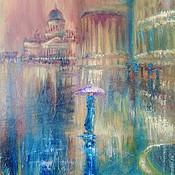 """Картины и панно ручной работы. Ярмарка Мастеров - ручная работа картина маслом """"Сиреневый зонтик"""". Handmade."""