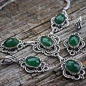 Украшения handmade. Livemaster - original item Elegant set with emerald