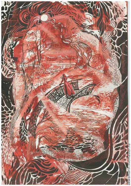 """Фантазийные сюжеты ручной работы. Ярмарка Мастеров - ручная работа. Купить Графика тушью """"Девушка на мосту"""". Handmade. Бордовый, акварель"""