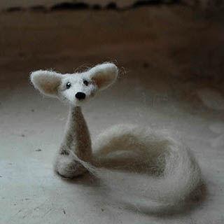 Миниатюра ручной работы. Ярмарка Мастеров - ручная работа. Купить Белый лисенок. Handmade. Белый, феннек, лисица, лисичка игрушка