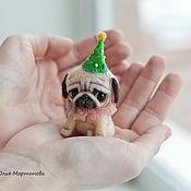 Куклы и игрушки ручной работы. Ярмарка Мастеров - ручная работа мопсик Поночка) ..миниатюра. Handmade.