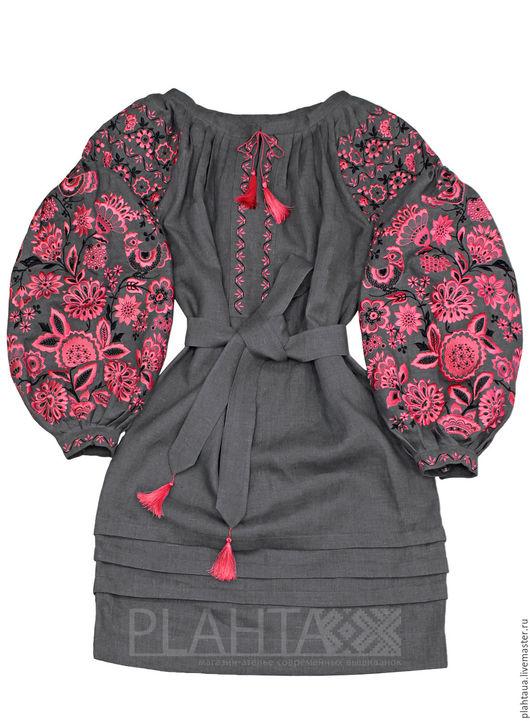 """Платья ручной работы. Ярмарка Мастеров - ручная работа. Купить Платье-вышиванка """"Чудо-Дерево"""" серое. Handmade. Серый"""