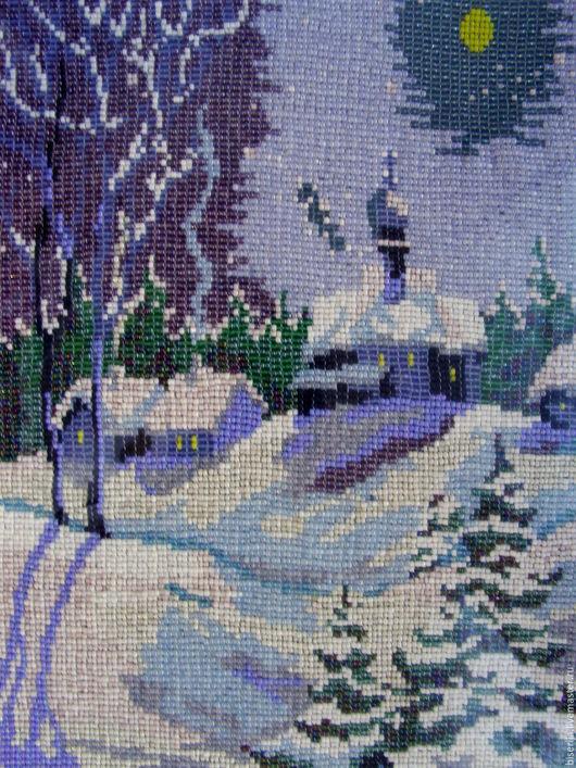 """Пейзаж ручной работы. Ярмарка Мастеров - ручная работа. Купить """"Зимняя ночь"""" картина из бисера. Handmade. Голубой, картина"""