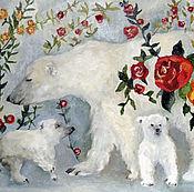 Pictures handmade. Livemaster - original item Polar bears oil Painting 30h40. Handmade.