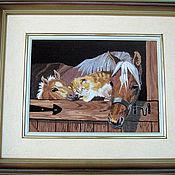 """Картины и панно ручной работы. Ярмарка Мастеров - ручная работа Вышивка """"Лошади в конюшне"""". Handmade."""