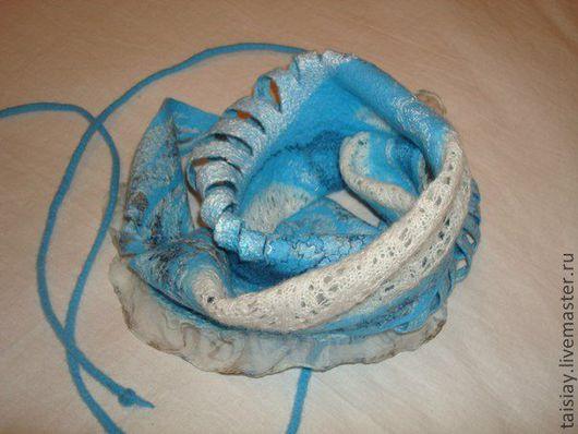 """Шарфы и шарфики ручной работы. Ярмарка Мастеров - ручная работа. Купить Валяный шарф """"Морозное утро"""". Handmade. Бирюзовый, шерсть"""