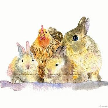 Картины и панно ручной работы. Ярмарка Мастеров - ручная работа Акварель. Картина в детскую. Кролики и курочка.. Handmade.