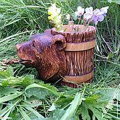 Посуда handmade. Livemaster - original item Beer mug made of wood carved