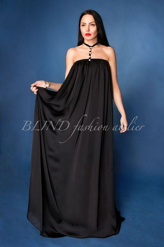 Платья ручной работы. Ярмарка Мастеров - ручная работа. Купить Шелковое платье 00199. Handmade. Черный, платье, жемчуг