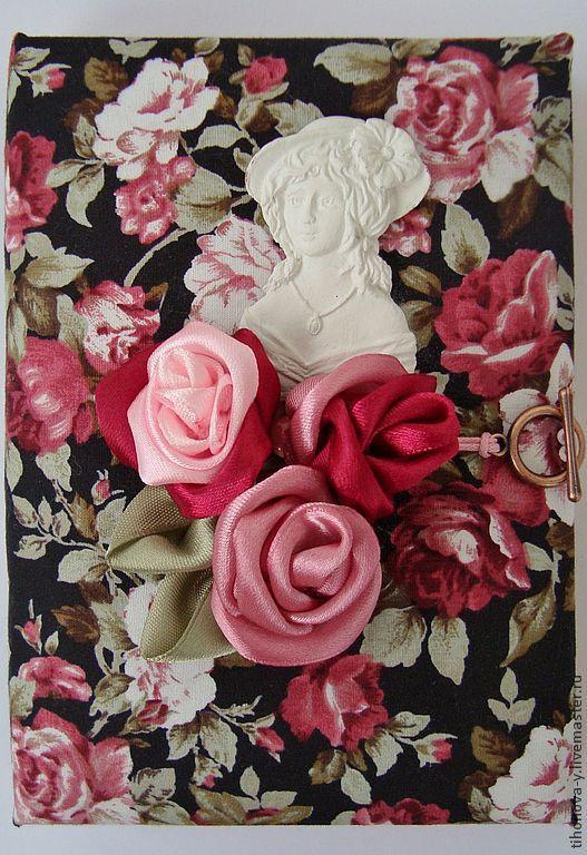 Блокноты ручной работы. Ярмарка Мастеров - ручная работа. Купить Блокнот  с атласными розами. Handmade. Винтажный стиль, тканевая обложка