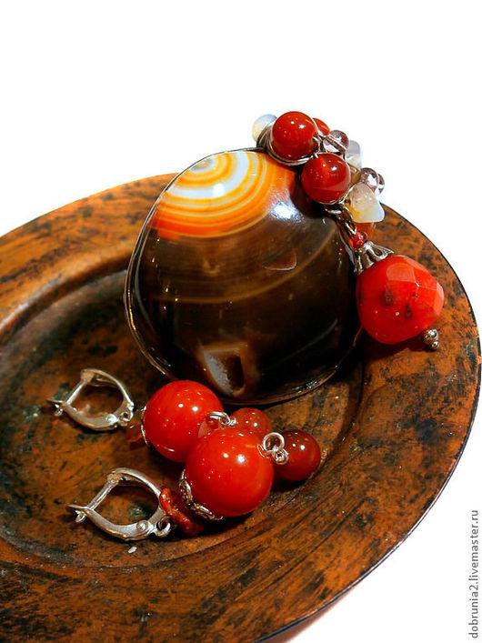 """Кольца ручной работы. Ярмарка Мастеров - ручная работа. Купить Кольцо  """"Огненная земля"""". Handmade. Рыжий, агат"""