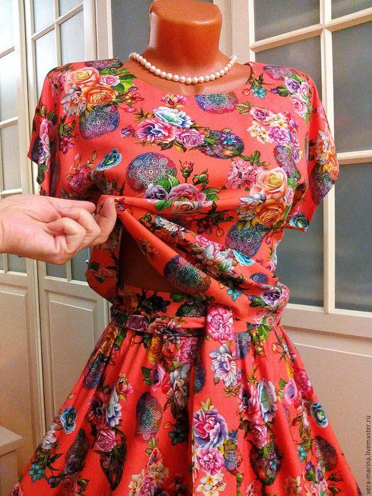 Платья ручной работы. Ярмарка Мастеров - ручная работа. Купить Платье-костюм из штапеля Коралловое настроение. Handmade. Коралловый, юбка