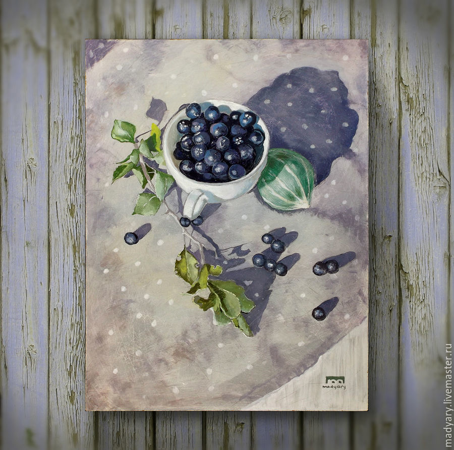 Натюрморт ручной работы. Ярмарка Мастеров - ручная работа. Купить Натюрморт сердечком ( фиолетовый, сиреневый, в горошек, ягоды). Handmade.