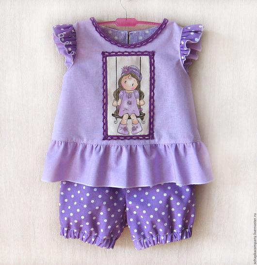 Одежда для девочек, ручной работы. Ярмарка Мастеров - ручная работа. Купить Комплект для девочки Модница сирень. Handmade. Сиреневый