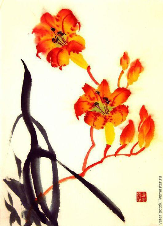 Картины цветов ручной работы. Ярмарка Мастеров - ручная работа. Купить Картина на рисовой бумаге Лилейник. Handmade. Китайская живопись