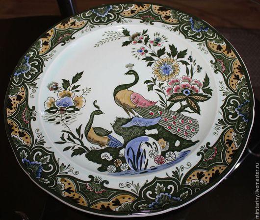 """Винтажные предметы интерьера. Ярмарка Мастеров - ручная работа. Купить Шикарная тарелка ручной работы, Villeroy & Boch,""""ПАВЛИН"""", Германия. Handmade."""