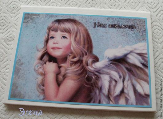 """Подарки для новорожденных, ручной работы. Ярмарка Мастеров - ручная работа. Купить """"Наш ангелочек"""" Именная папка для св-ва о рождении. Handmade."""