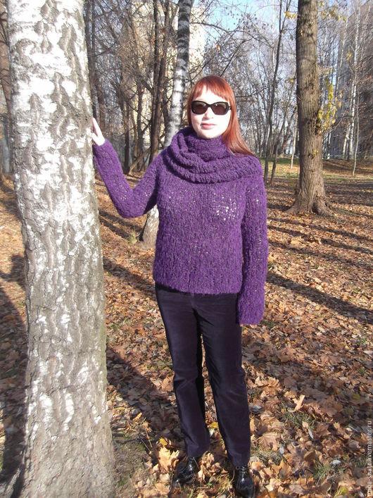 Кофты и свитера ручной работы. Ярмарка Мастеров - ручная работа. Купить джемпер фиолетовый полет Свяжу подобное. Handmade. Фиолетовый