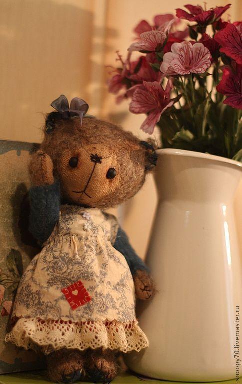 Мишки Тедди ручной работы. Ярмарка Мастеров - ручная работа. Купить Чуня (мамина помощница). Handmade. Синий, коллекционные медведи