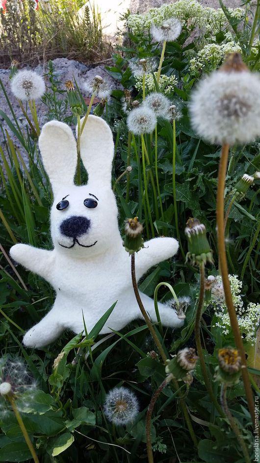 зайчик, заяц бибабо, перчаточный заяц, заяц на руку, белый заяц. заяц для кукольного театра. развивающая игрушка, кролик игрушка, кролик бибабо. перчаточная игрушка, валяная игрушка. игрушка из шерсти