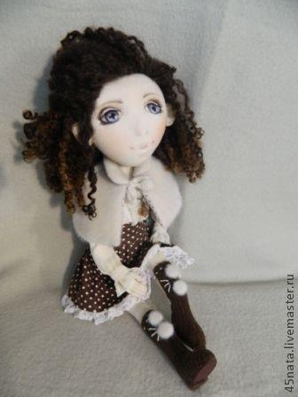 Коллекционные куклы ручной работы. Ярмарка Мастеров - ручная работа. Купить Текстильная кукла Мишель. Handmade. Коричневый, текстильная кукла
